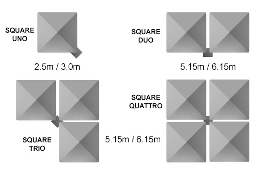 Shadowspec Square Multi Mast Cantilever Umbrellas Size & Configuration